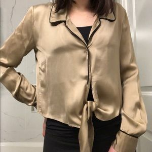 Aritzia/Wilfred | Gold Tie-Front Top Blouse💛